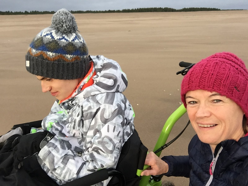 Andrew and his mum Louise using the MT Push on a beach