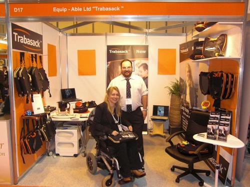 Clare and Duncan at Naidex on the Trabasack stand