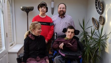 Photo of The family behind the innovative Trabasack wheelchair lap tray and bag