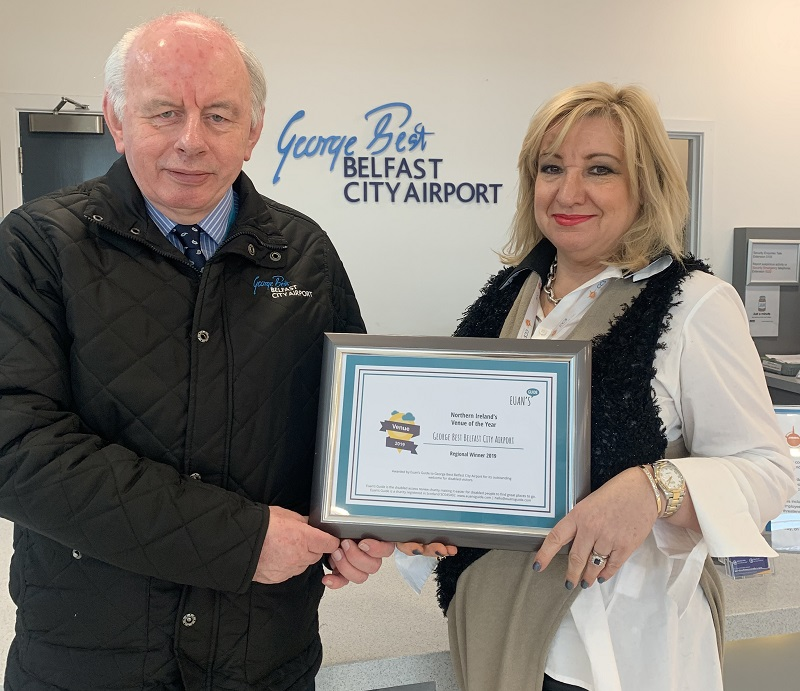George Best Belfast City Airport with the Euan's Guide award