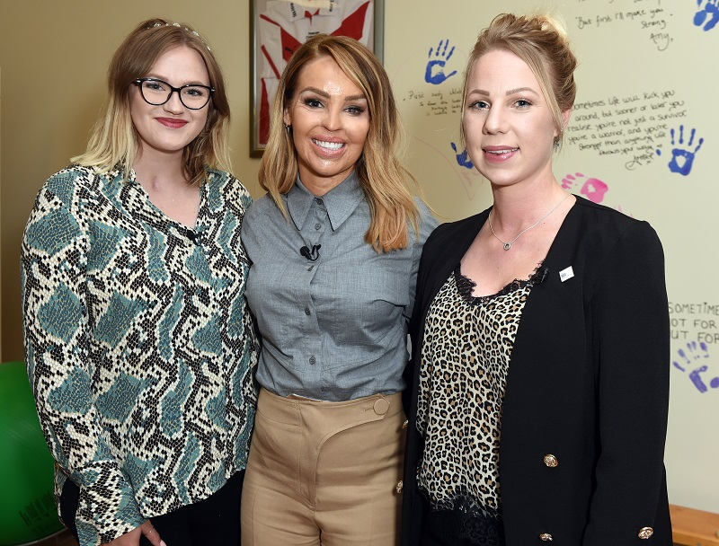 Katie Piper at her Burns Rehabilitation Centre with two other women