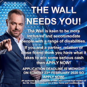 Danny Dyer on a blue background promoting the inclusive TV show The Wall