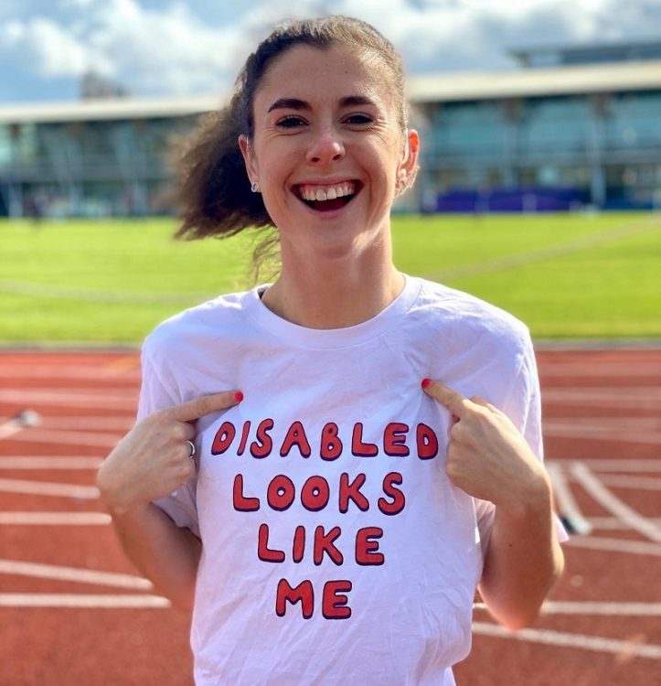 Paralympian Oliva Breen in 'Disabled looks like me' for invisible disabilities t-shirt