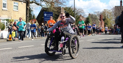 Amanda in her Mountain Trike all-terrain wheelchair on her 10k race