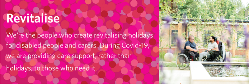 Pink graphic with word Revitalise next to an image of two disabled people in a garden