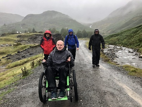 David Needham on his Mountain Trike all-terrain wheelchair doing the Three Peaks Challenge in Yorkshire