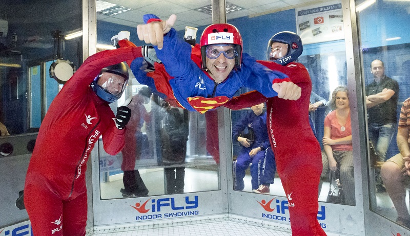 Disabled man indoor skydiving at Revitalise accessible holiday