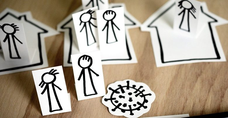 Drawings of stick people in houses isolating