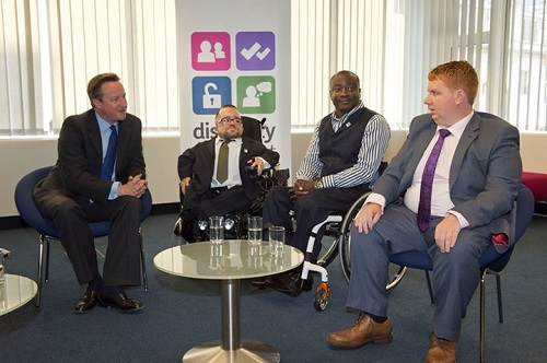 Mark Esho meeting David Cameron with three other disabled entrepreneurs