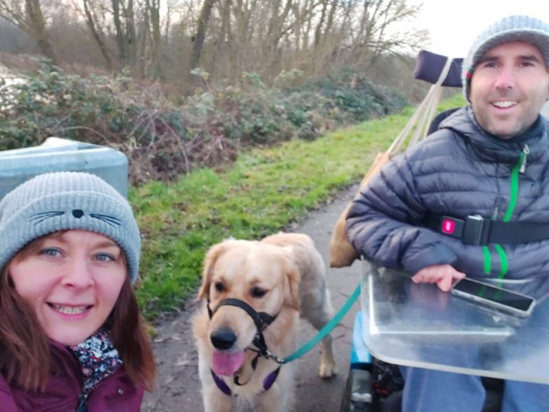 Martyn Sibley with his fiance Kasia and dog Sunny on a walk