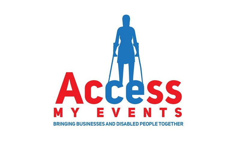 Access My Events logo in red and blue with sillohette of a disabled woman behind the words