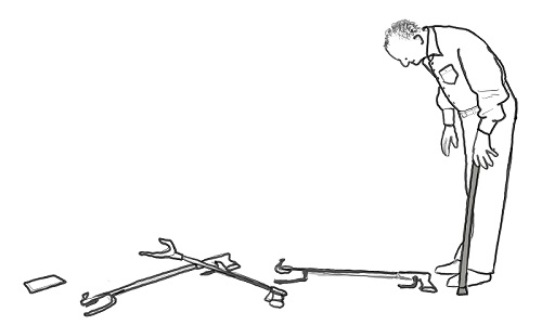 Cartoon of a disabled man using a stick trying to bend down to pick up lots of crutches