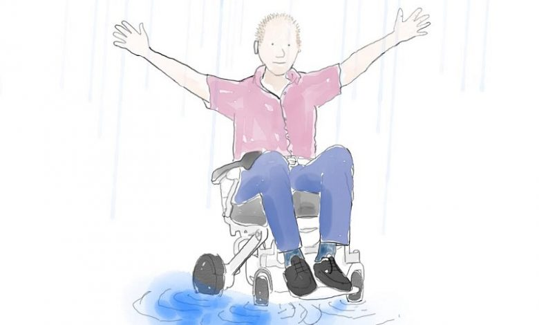 Cartoon of a man in a wheelchair with his arms in the air