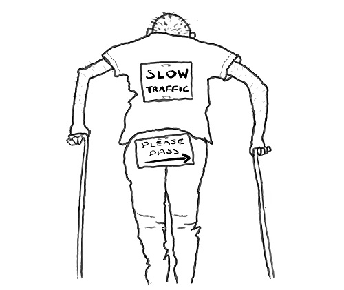 Cartoon of the back of a man using walking sticks with signs on him saying please pass and slow traffic