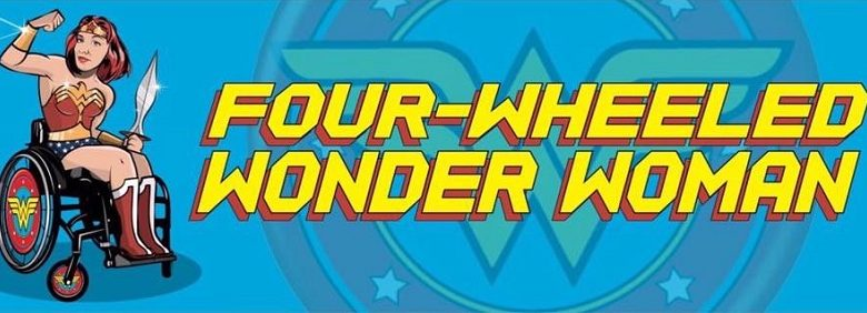 Illustration of Lucy Wood with words Four-Wheeled Wonder Woman on a blue background
