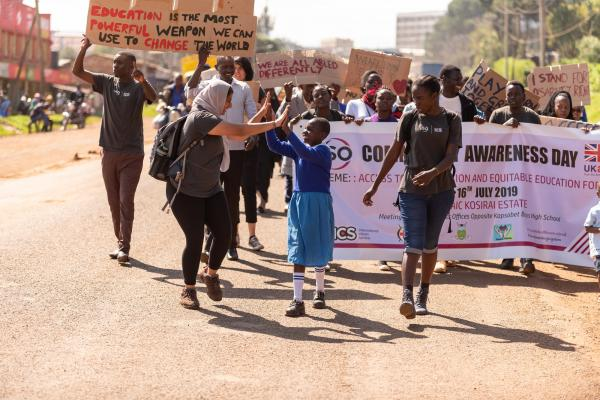 Raabia and students marching for equal access to education