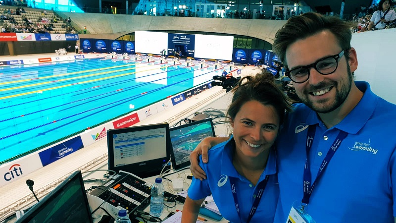Liz Johnson with Steven Jamieson commentating at the Paralympics