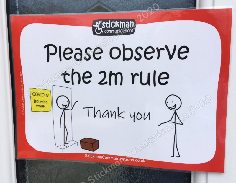 Covid-19 sign asking people to observe 2m rule from Stickman Communications
