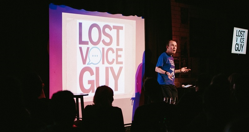 Lost Voice Guy Lee Ridley on stage