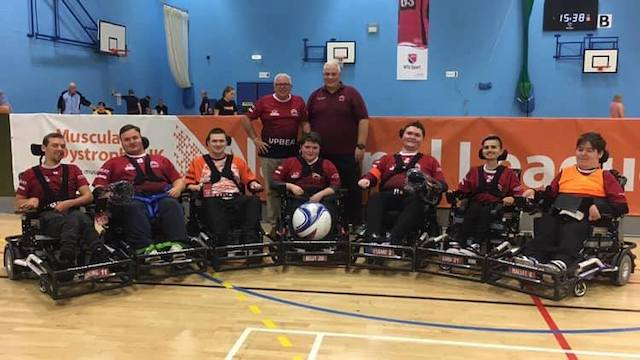 Muscle Warriors Powerchair Football Club that includes Ryan, Rhys and Tom
