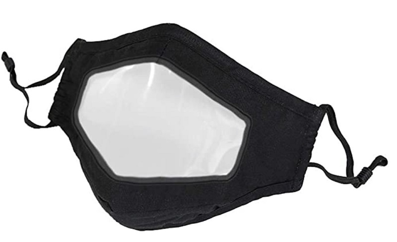 Black lip-reading face mask with clear plastic centre