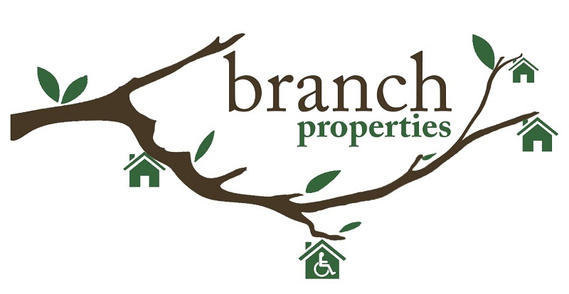 Branch Properties logo with a branch and house and wheelchair logo hanging from them