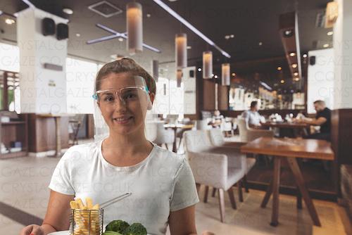 crystal-gaze-face-shield-hair-restaurant-worker
