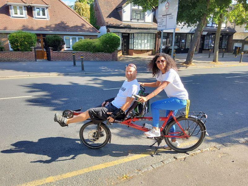 Former Firefighter John Chart and his wife Arlene on the tandem bike