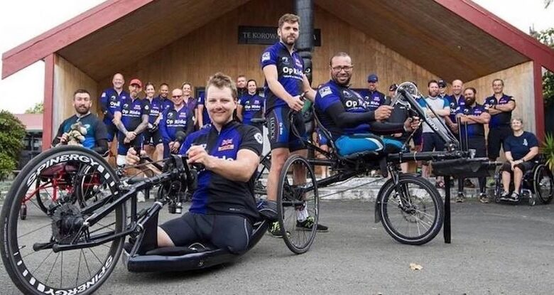 The Pilgrim Bandits Team on their adapted bikes in New Zealand