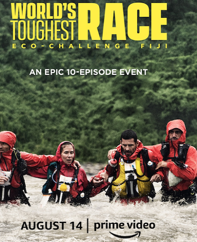 World's Toughest Race poster with for people in the water in life jackets