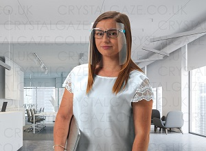 woman in a white shirt in an office wearing the new crystal gaze face shield