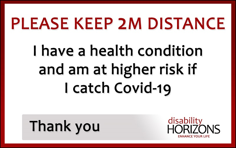 Covid-19 2M social distance card sign
