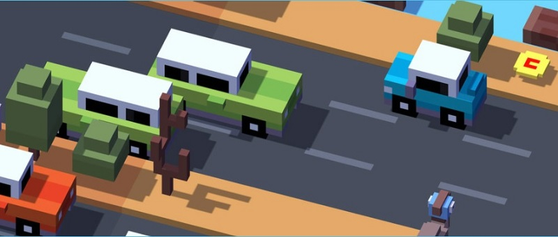 Crossy Road game showing an animated road with cars