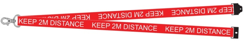 Keep 2M distance lanyard in red