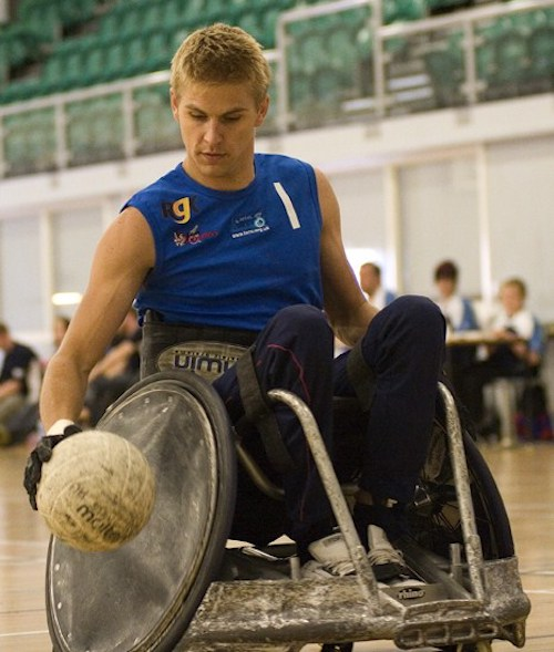 Steve Brown playing wheelchair rugby
