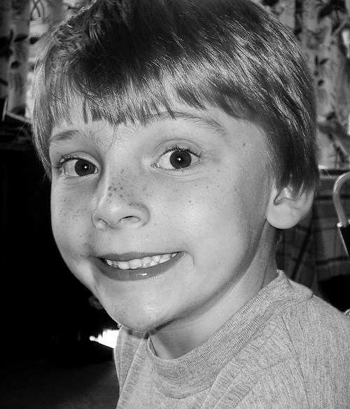 Black and white image of Freddie Stebbings as a child