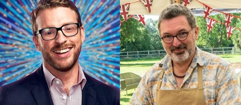 JJ Chalmers from Strictly in a blue suit on a sparkly background and Marc Elliot in the Bake Off tent