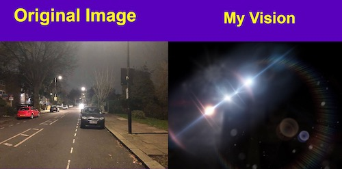 Two images, one showing a street with cars and street lights and the other black with light spots