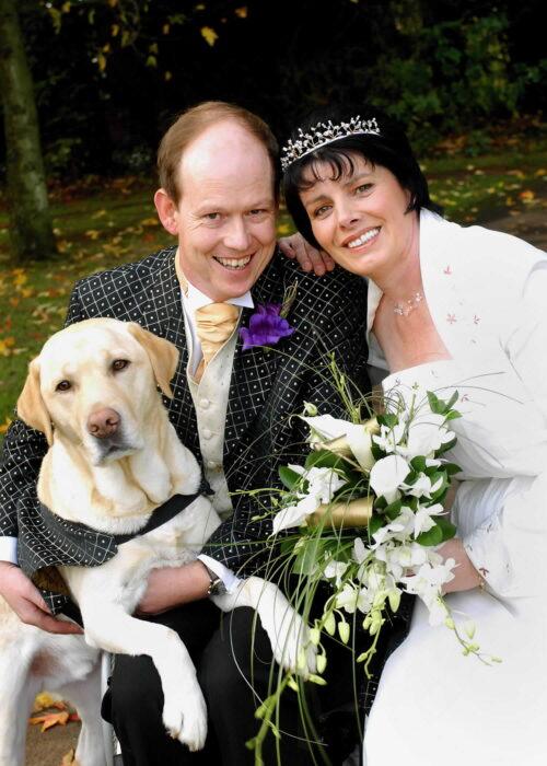 Allen Parton, Sandra Parton & Endal at second wedding