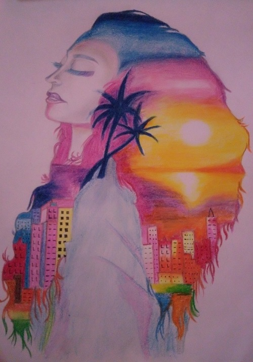 Artwork by disabled artist Ahanjit Biswas showing light pink paper with a woman viewed from the side with rainbow hair and a silhouette of high-rise buildings