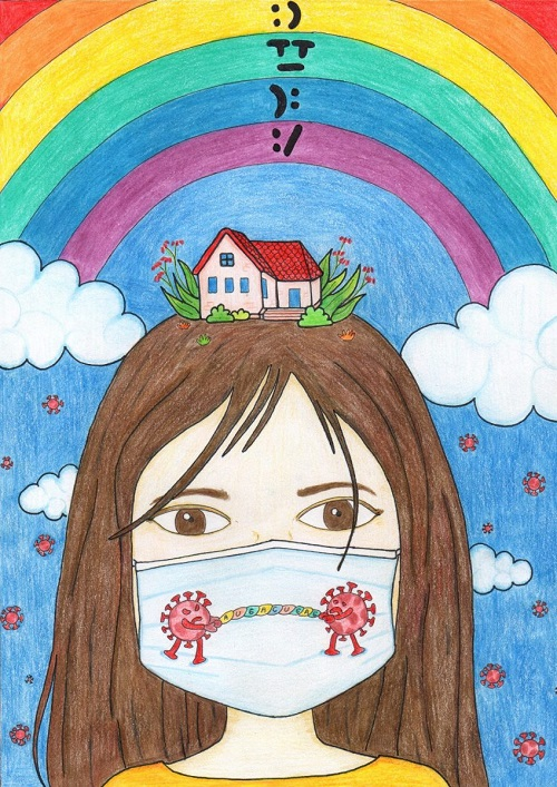 Artwork by disabled artist Tri Iva Fitriani showing a colour drawing of a girl with brown hair wearing a face mask with virus particles on it and a house on the top of her head with a blue sky in the background and rainbow over her head
