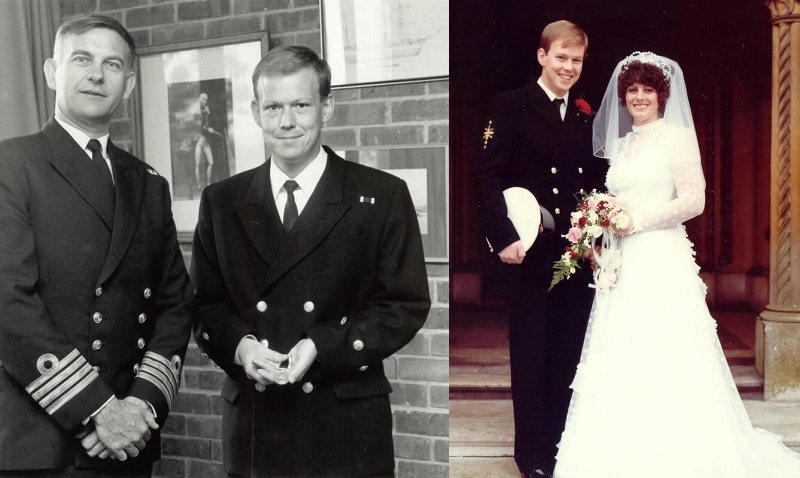Black and white image of Allen Parton in the Navy and a colour image of Allen Parton with his wife Sandra on their wedding day