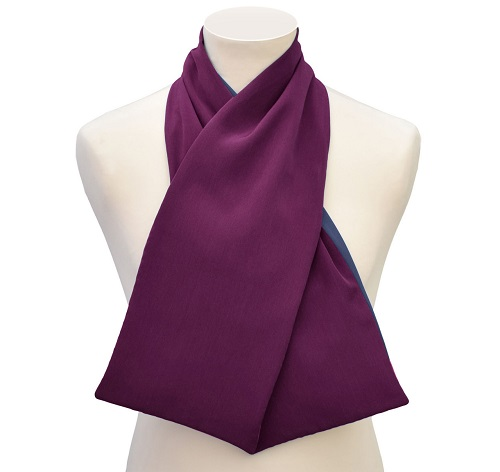 Purple cashmere cross-scarf clothing protector for men or women on a mannequin