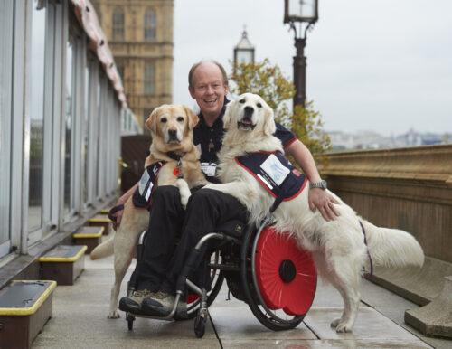 EJ, Allen Parton & Rookie wearing poppies outside Westminster