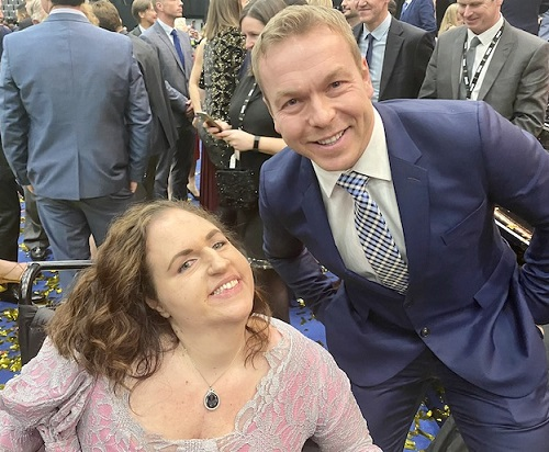 Georgina Moore with Chris Hoy at BBC Sport's Personality of the Year