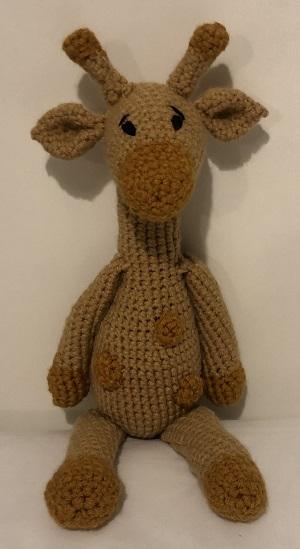 Knitted giraffe by Catherine Shepherd