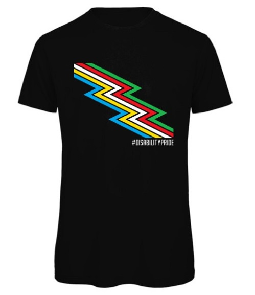 Disability Pride black T-shirt with words under a lightening bolt in rainbow colours