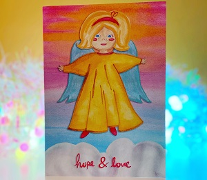 Vintage angel design Christmas card