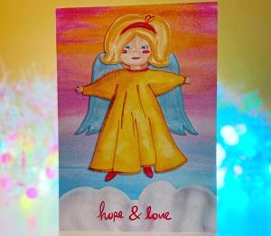 Vintage angel design Christmas card