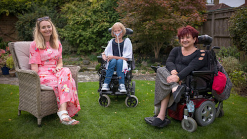 Cerrie Burnell with disability activists Baroness Jane Campbell and Alia Hassan
